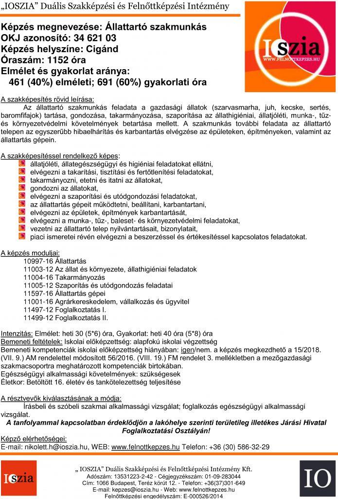 Állattartó szakmunkás - Cigánd - IOSZIA felnőttképzés felnottkepzes.hu