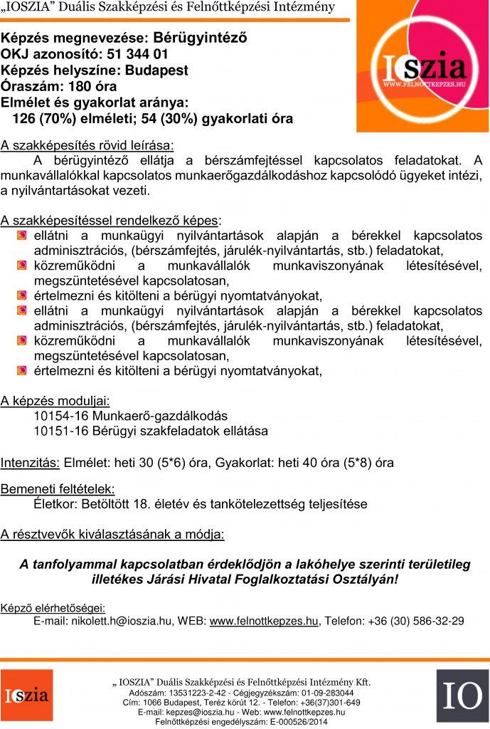 Bérügyintéző - budapest IOSZIA felnőttképzés