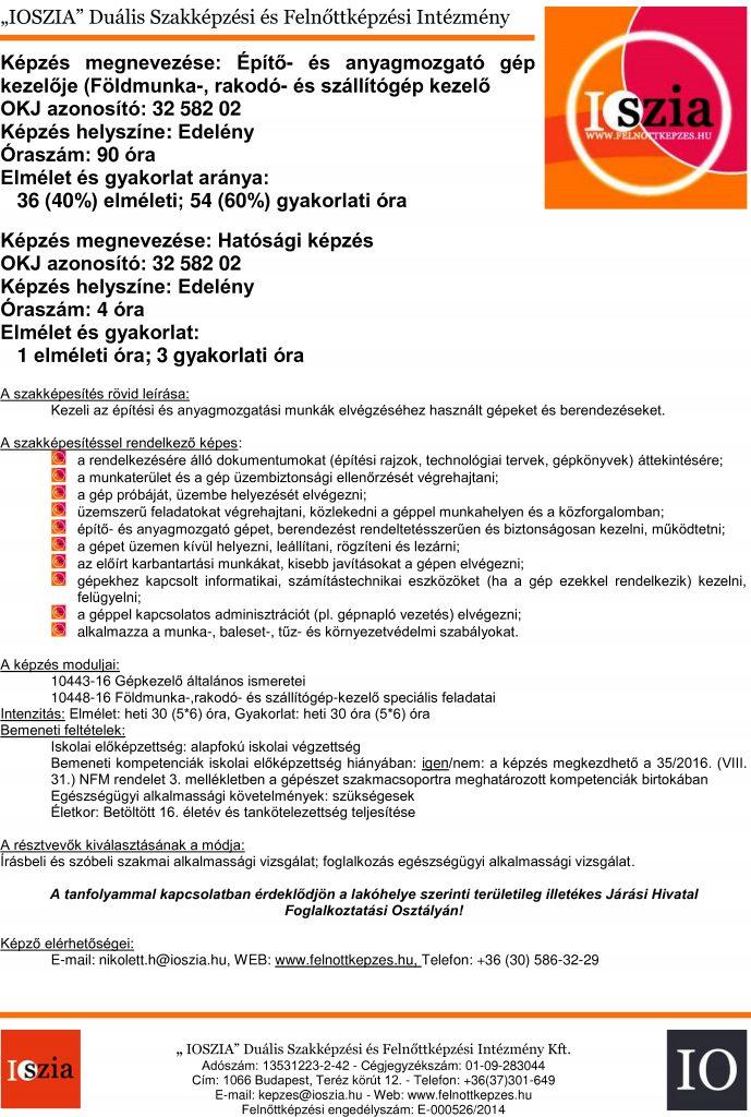 Építő- és anyagmozgató gép kezelője földmunka - Edelény IOSZIA felnottkepzes.hu