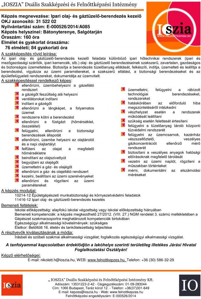 Ipari olaj- és gáztüzelő-berendezés kezelő - OKJ - Bátonyterenye - Salgótarján - felnottkepzes.hu - Felnőttképzés - IOSZIA