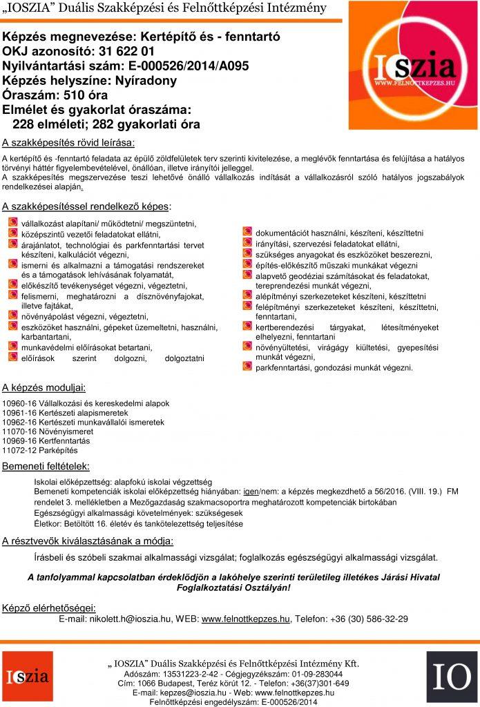 Kertépítő és -fenntartó OKJ - Nyíradony - Felnőttképzés - felnottkepzes.hu - IOSZIA
