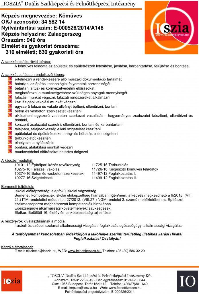 Kőműves OKJ - Zalaegerszeg - felnottkepzes.hu - Felnőttképzés - IOSZIA