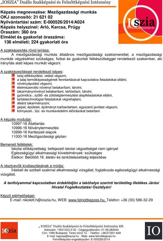 Mezőgazdasági munkás OKJ - Arló - Karcsa - Prügy - felnottkepzes.hu - Felnőttképzés - IOSZIA