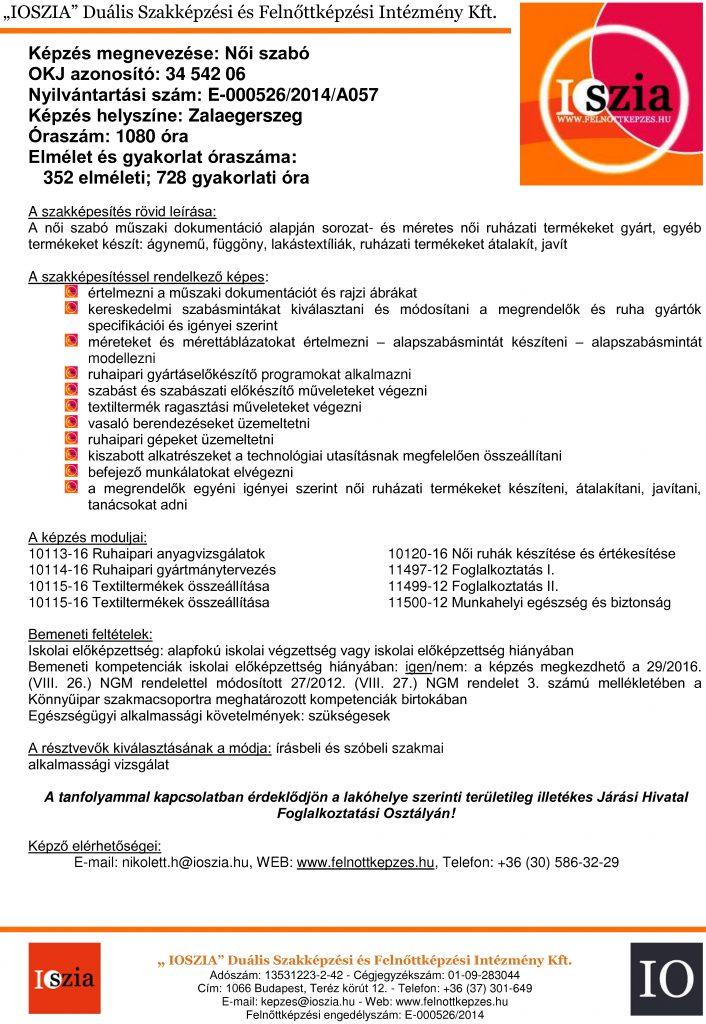Női szabó OKJ - Zalaegerszeg - felnottkepzes.hu - Felnőttképzés - IOSZIA