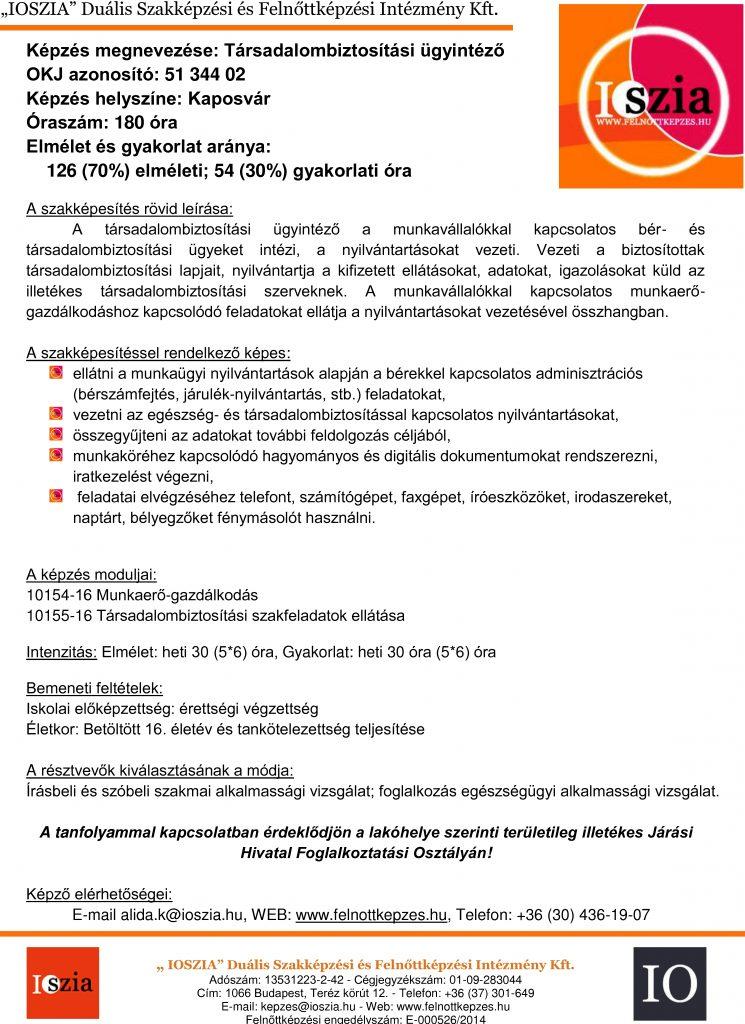 Társadalombiztosítási ügyintéző OKJ - Kaposvár - IOSZIA felnőttképzés felnottkepzes.hu