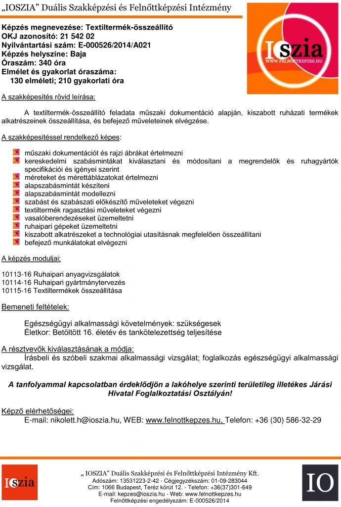 Textiltermék-összeállító OKJ - Baja - felnottkepzes.hu - Felnőttképzés - IOSZIA