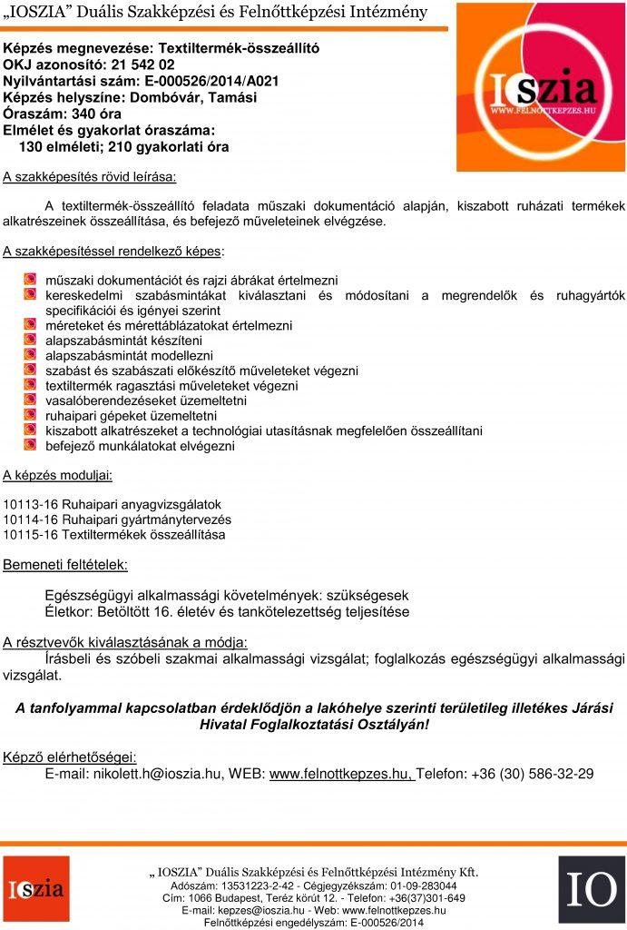 Textiltermék-összeállító OKJ - Dombóvár - Tamási - felnottkepzes.hu - Felnőttképzés - IOSZIA