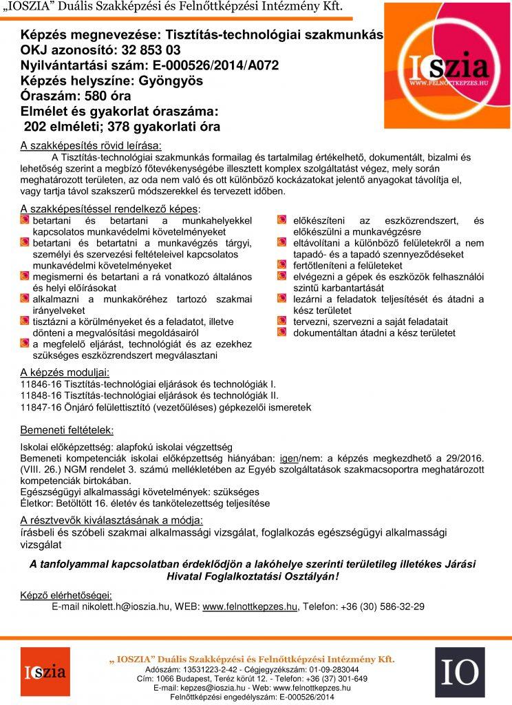Tisztítás-technológiai szakmunkás OKJ - Gyöngyös - felnottkepzes.hu - Felnőttképzés - IOSZIA
