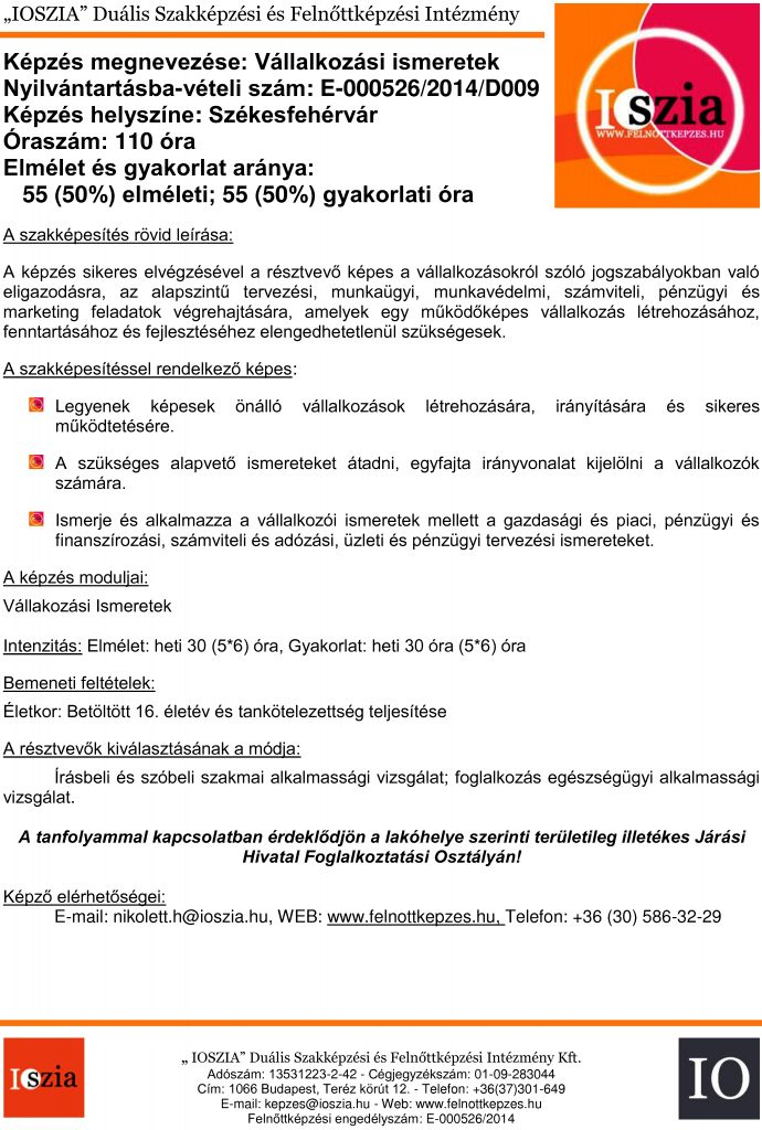Vállalkozási ismeretek - Székesfehérvár - IOSZIA felnőttképzés
